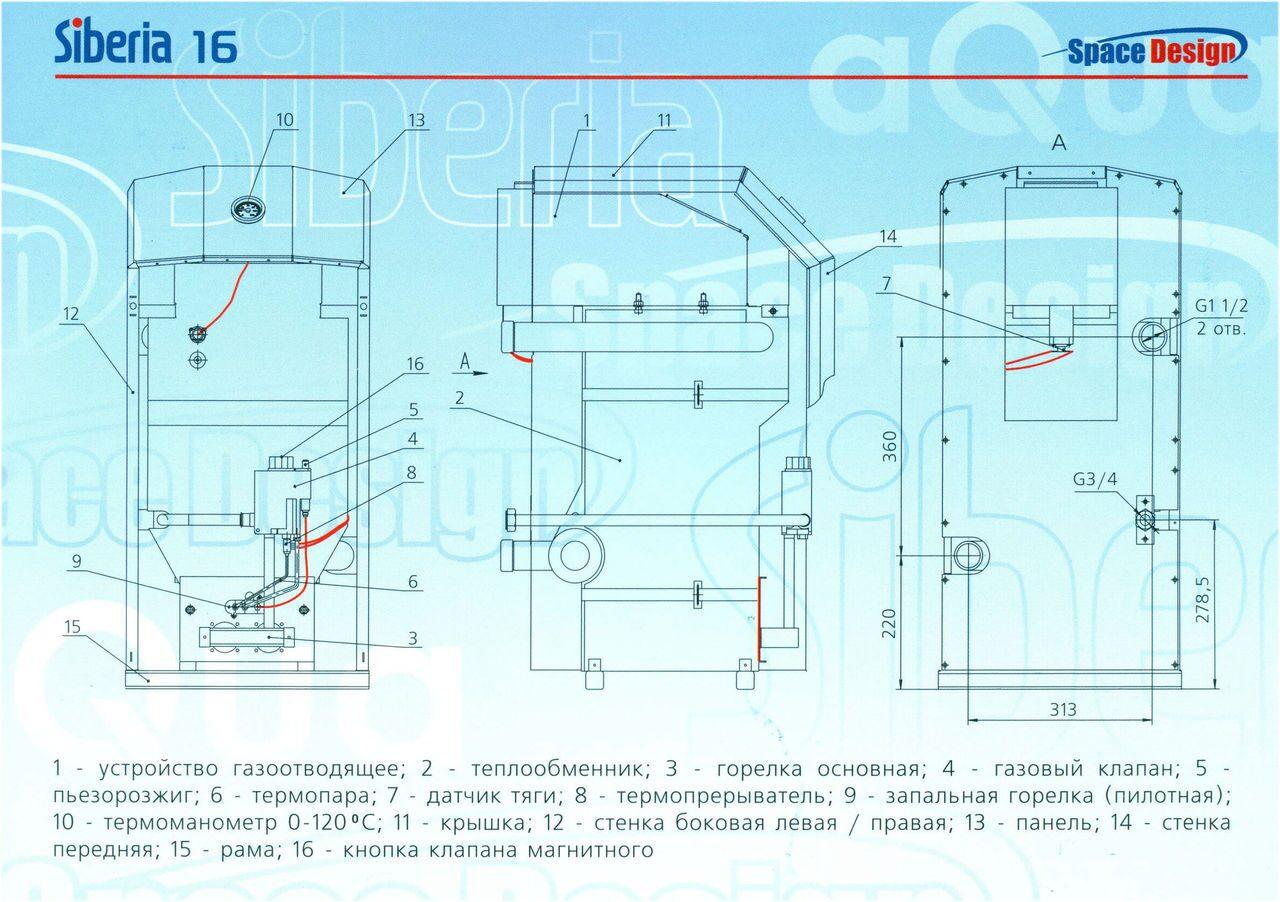 схема устройства газового котла очаг